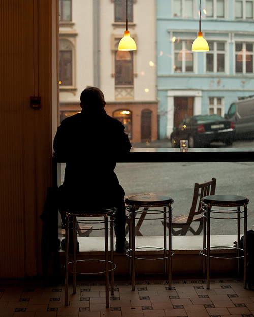 Coffee shop man alone