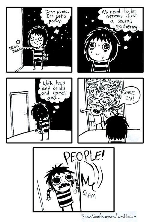 personnage introverti qui panique en devant aller à une fête