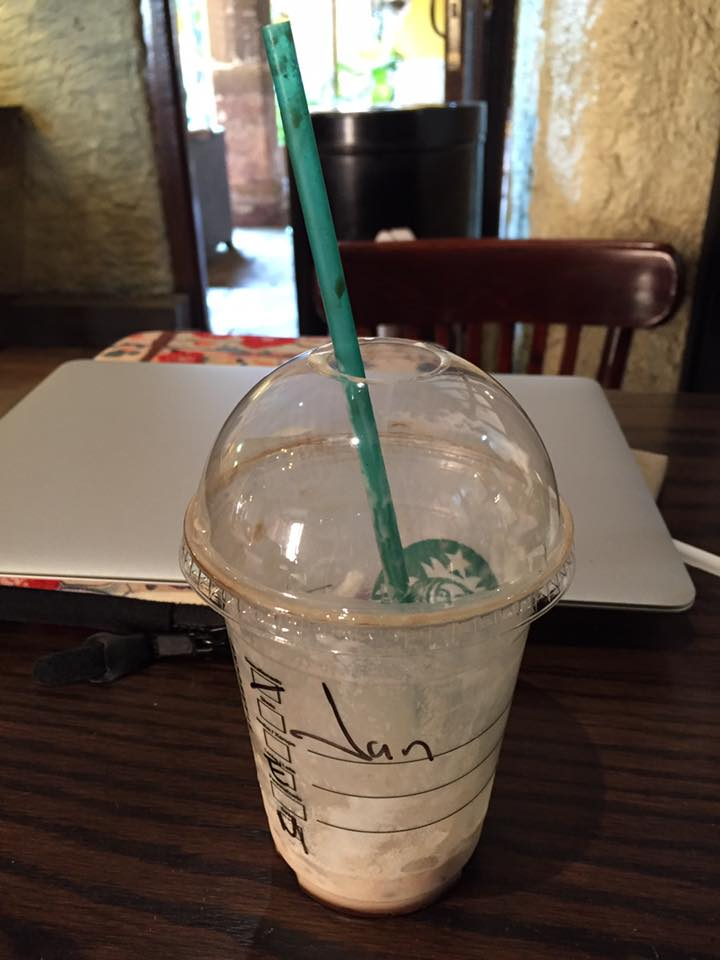 I'm parked at the downtown Starbucks, editing articles for Introvert, Dear. Just like in the U.S., Starbucks employees can't seem to get my name right. I love it.