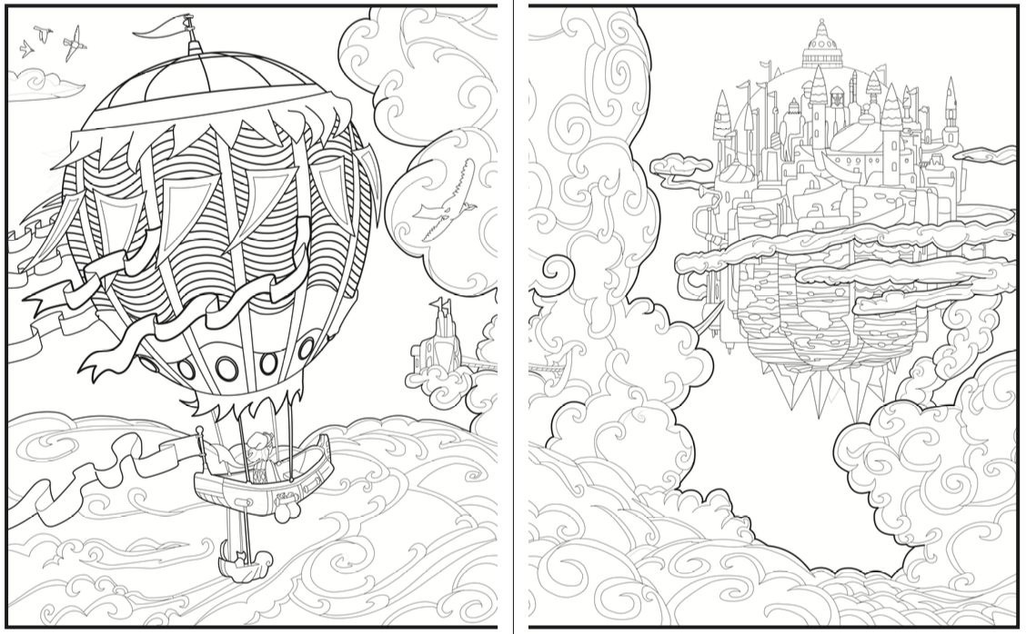 Introvert Dreams Coloring Book Hot Air Balloon