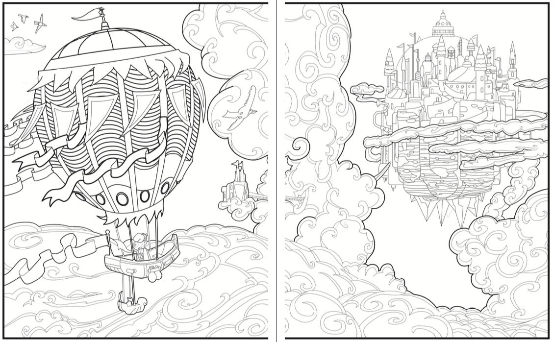 Introvert Dreams coloring book hot air balloon
