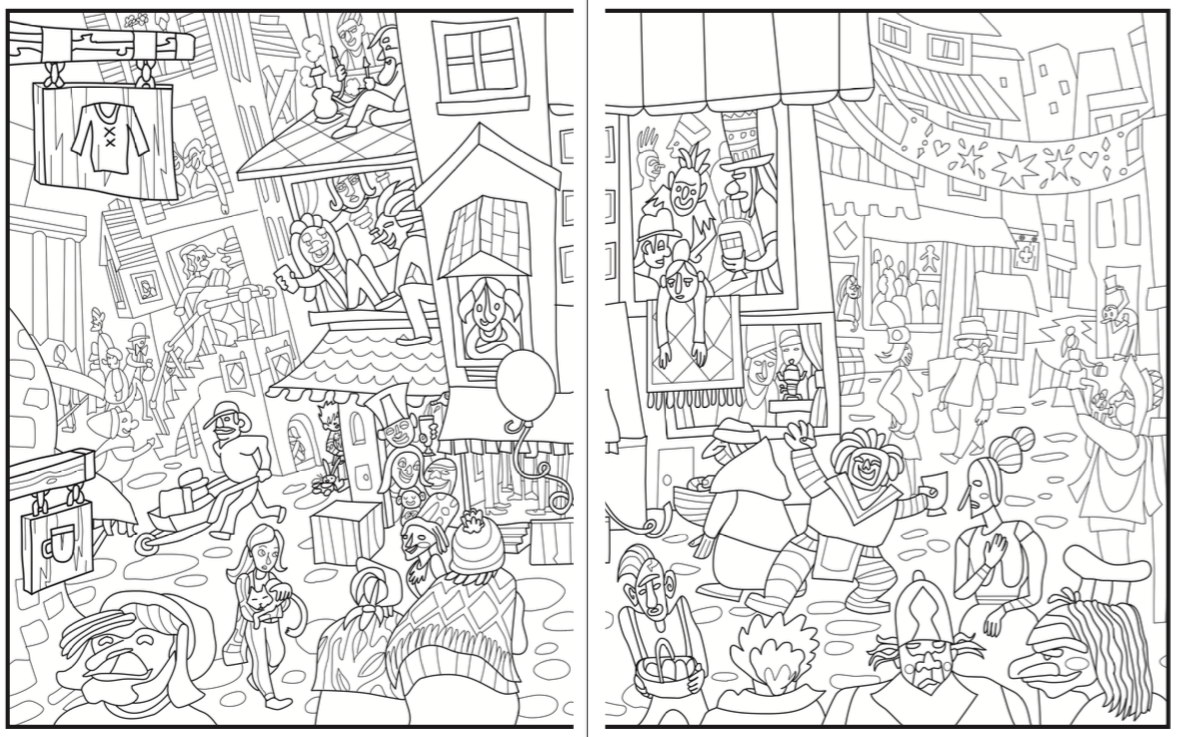 Introvert Dreams Coloring Book Crowded City