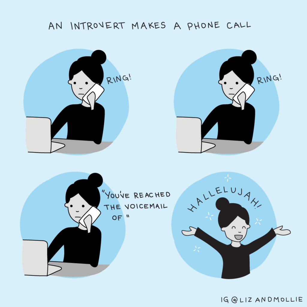 An illustration of an introvert making a phone call.