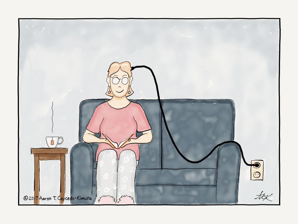 an introvert plugged in to a power outlet to recharge
