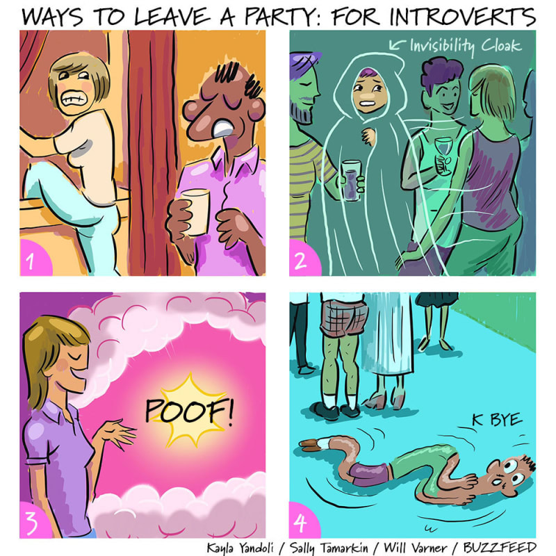 ways for introverts to leave a party meme