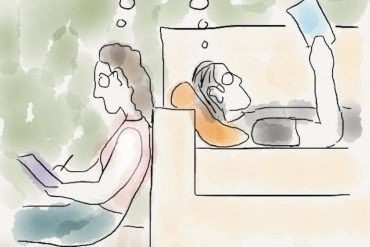 a cartoon of two introverts loving being alone together