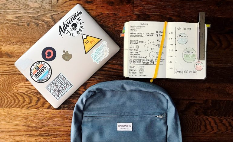 a backpack, notebook, and laptop representing each introverted myers-briggs personality type in school