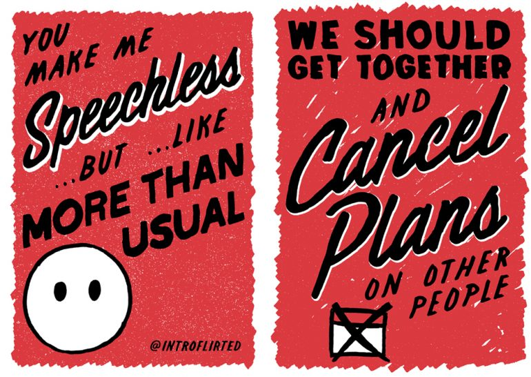 two Introflirted cards pick up lines for introverts