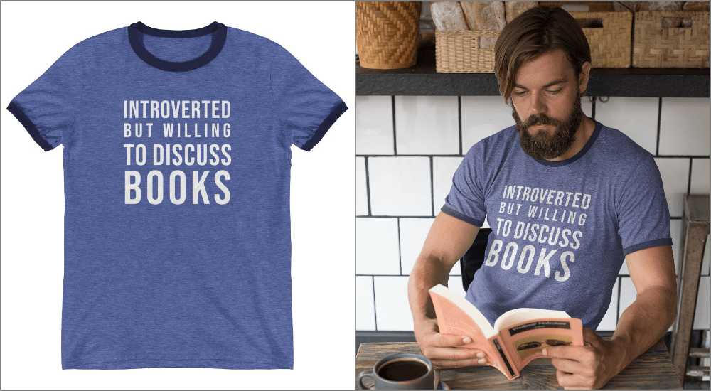 introverted but willing to discuss books ringer tee for introverts blue