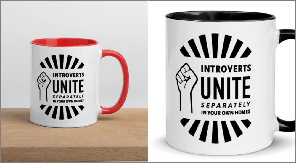 introverts unite separately in your own homes mug red black