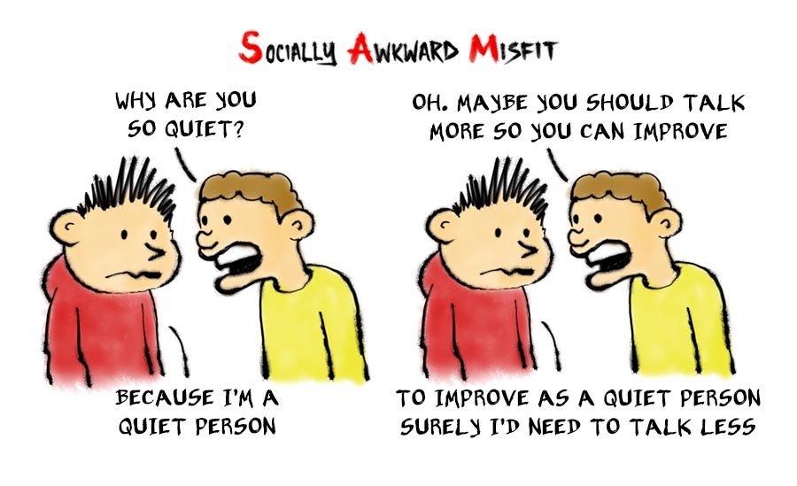 a comic about an introvert being asked why are you so quiet