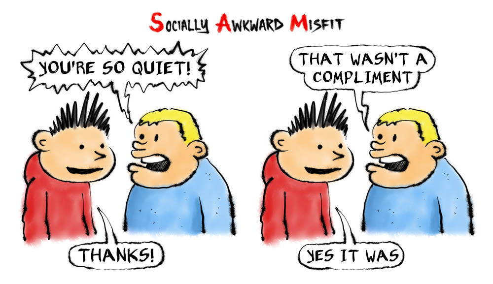 a comic about an introvert being told he is too quiet