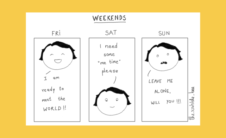 a comic about an introvert on weekends
