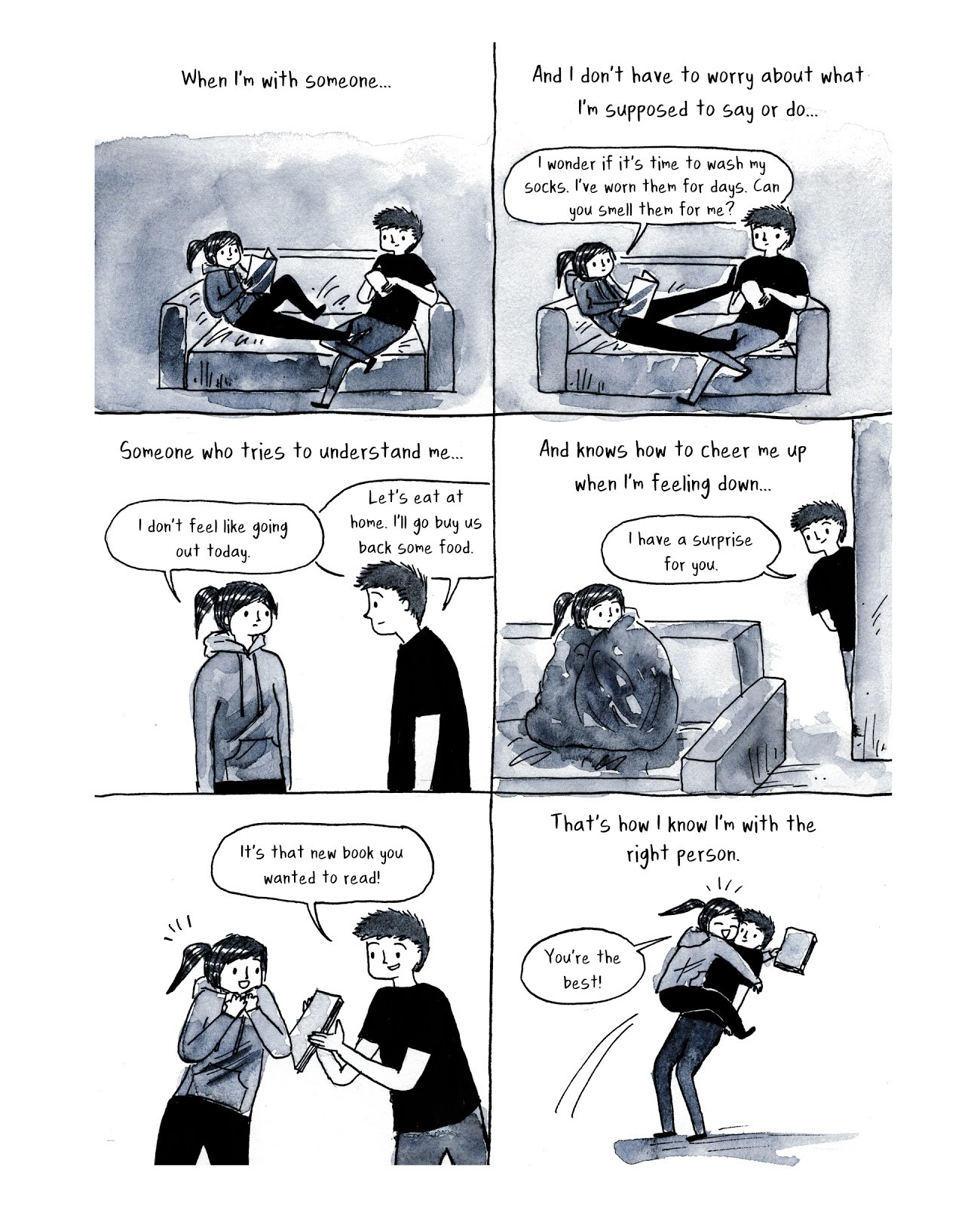 a Debbie Tung comic about reading a new book