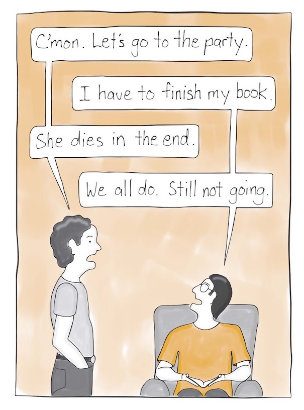 a comic about INFJoe, an introvert, wanting to finish his book and skip the party