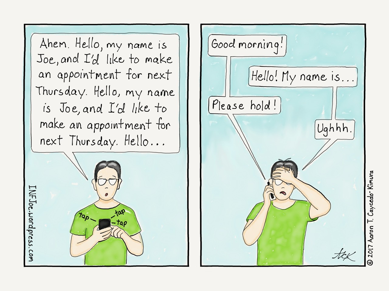 a comic about INFJoe making an appointment over the phone
