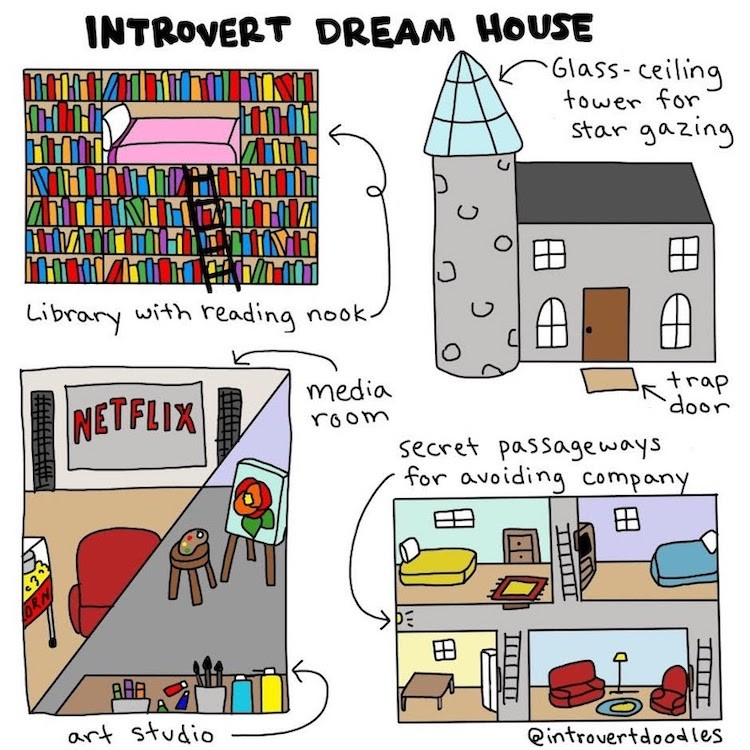 an Introvert Doodles comic about an introvert's dream house